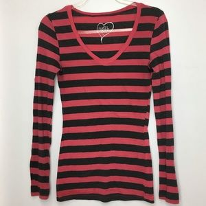 Rue 21 Long Sleeve V-Neck Top Size Small